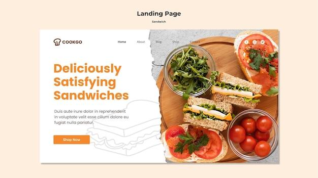 サンドイッチコンセプトのランディングページテンプレート