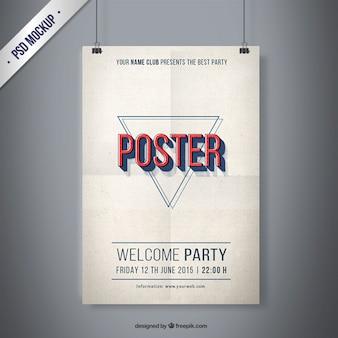 ヴィンテージ党のポスターのモックアップ