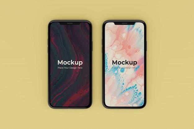 Сменные реалистичные шаблоны дизайна двух мобильных макетов экрана