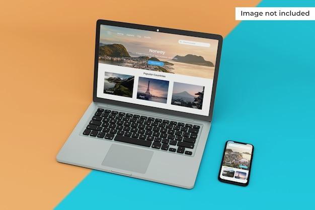 変更可能なモバイルインターフェイスとラップトップ画面のモックアップ