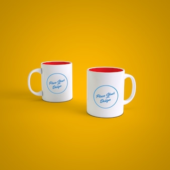 変更可能な色の背景にカップルのコーヒーマグ
