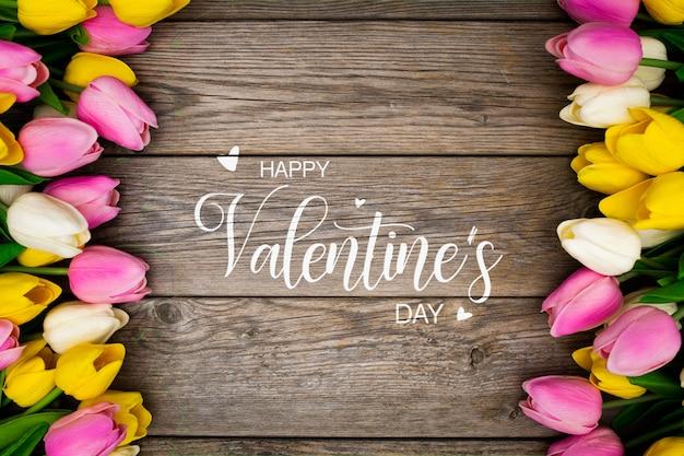 色とりどりの花でバレンタイン背景