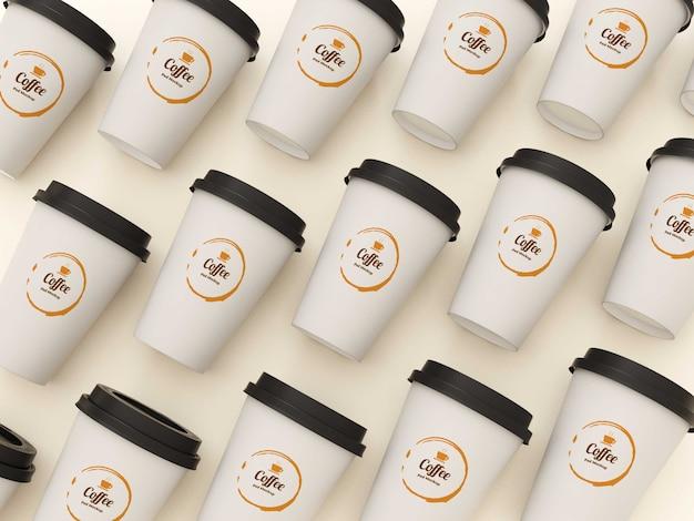 Вид сверху кофейные чашки макет