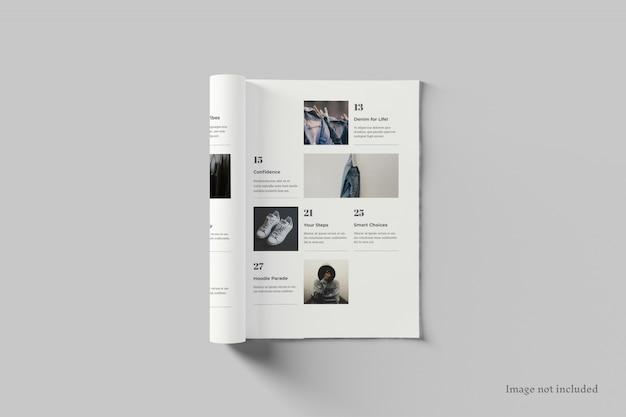 雑誌のモックアップの上面図