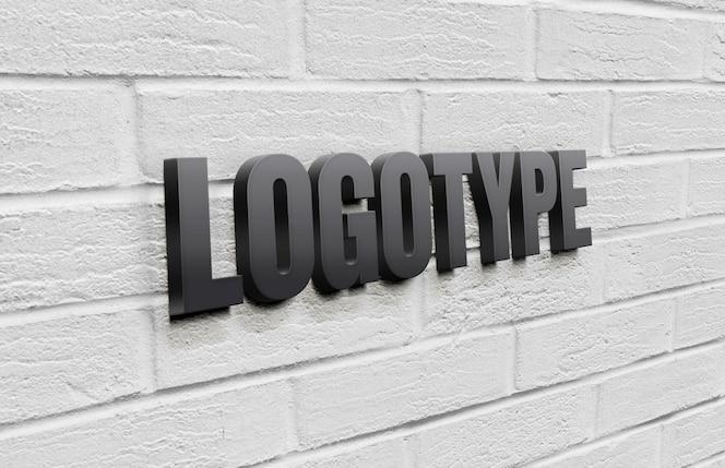 Шаблон логотипа на кирпичной стене