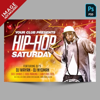 Шаблон флаера хип-хоп субботней вечеринки