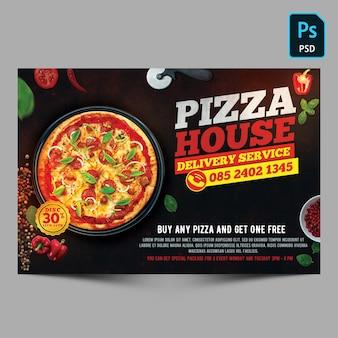 Флаер шаблон службы доставки пиццерия