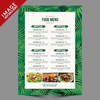 Шаблон меню ресторана с тропическими листьями