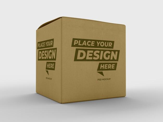 キューブ製品包装紙段ボール箱モックアップ