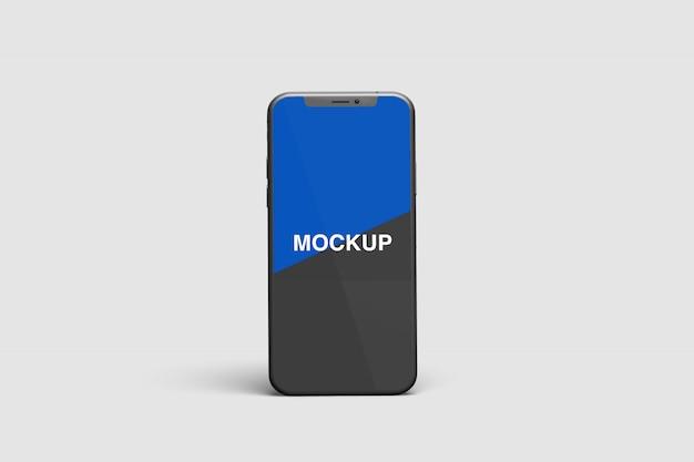 立っているスマートフォンのモックアップ
