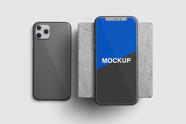 Вид сверху смартфон макет