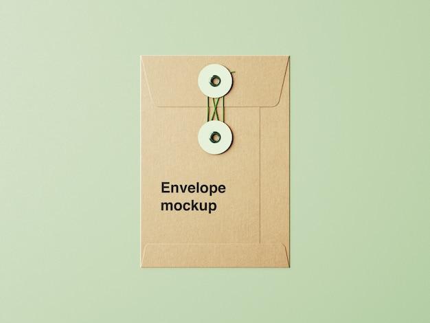 紙封筒のモックアップにクローズアップ