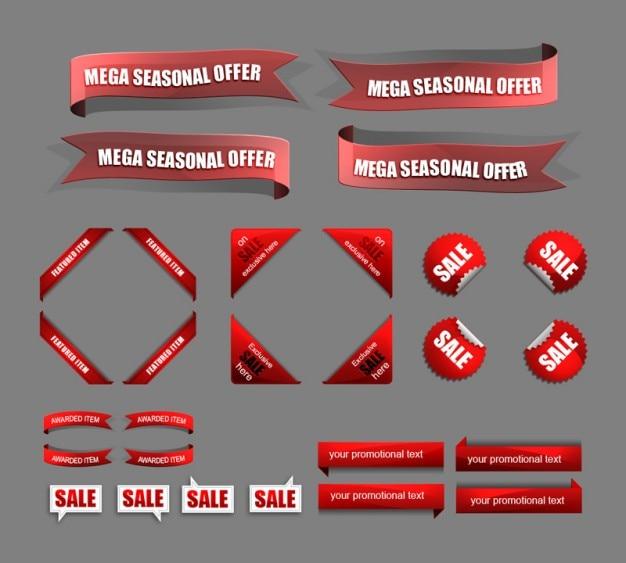Красные продаж и скидки иконки