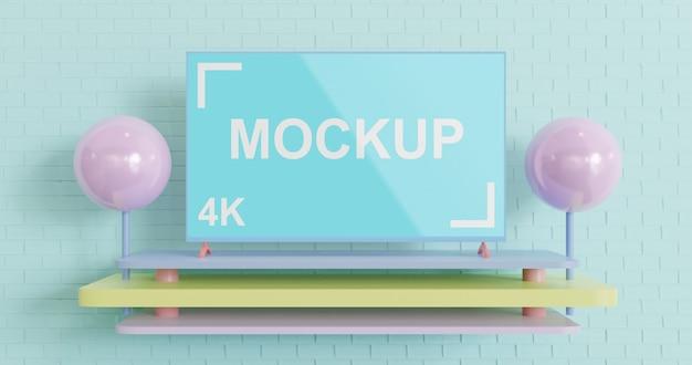 シンプルなテレビモックアップパステルカラー