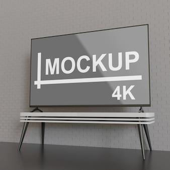 テーブル上のテレビのモックアップ画面表示