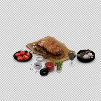 トマトの前菜、ワイングラスを木の板に肉