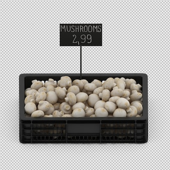Изометрические грибы в корзине