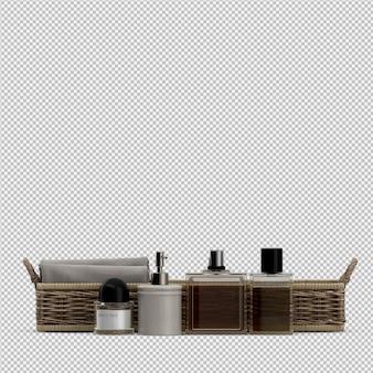 Сложенные полотенца в корзинах и косметических флаконах