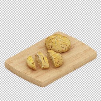 アイソメ、パン、木製、カッティングボード