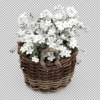 アイソメ白い植物のバスケット