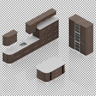 アイソメリビングルームの家具セット