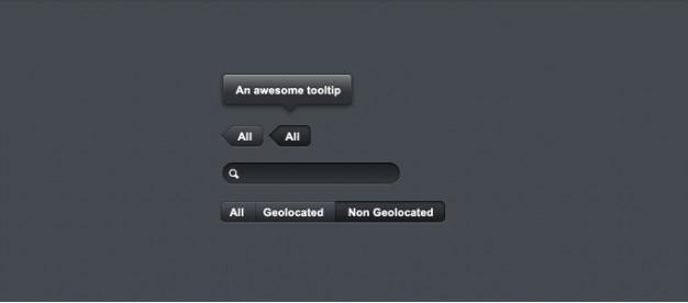 Темные кнопки, подсказки, вкладки, элементы пользовательского интерфейса