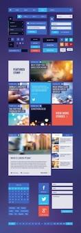 Плоский комплект пользовательского интерфейса для веб-сайта