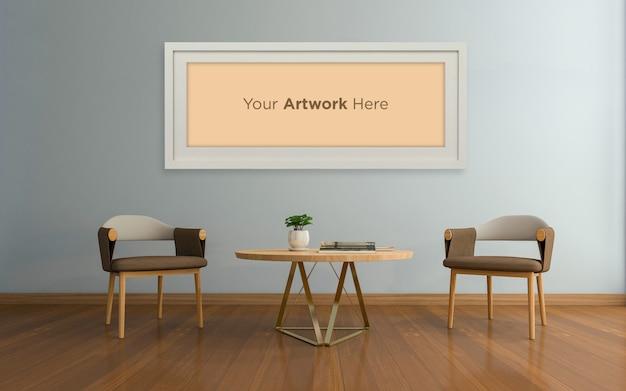 テーブル空のフォトフレームのモックアップデザインとリビングルームのインテリア椅子