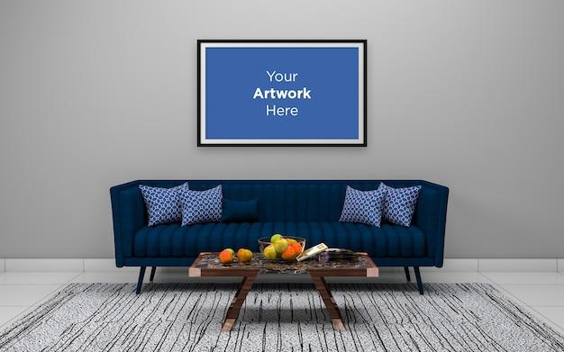 空のフォトフレームモックアップデザインとリビングルームのインテリアの青いソファ