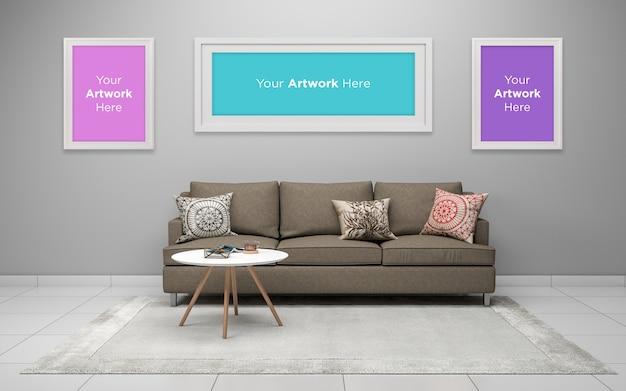 ソファ付きのモダンなリビングルーム-ソファとテーブルの現実的なフレームのモックアップ