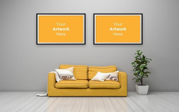 リビングルームインテリア黄色のソファ空のフォトフレームモックアップデザイン