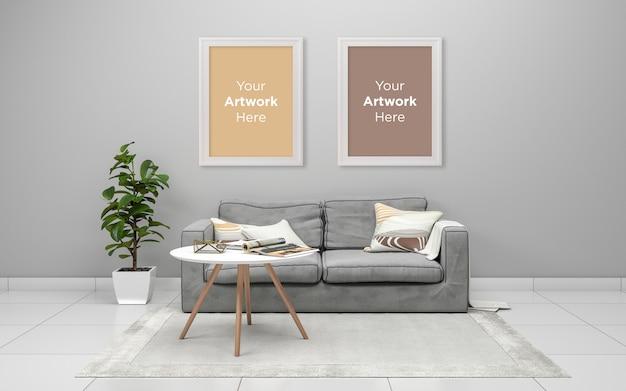 リビングルームインテリアグレーのソファと空のフォトフレームモックアップデザインテーブル