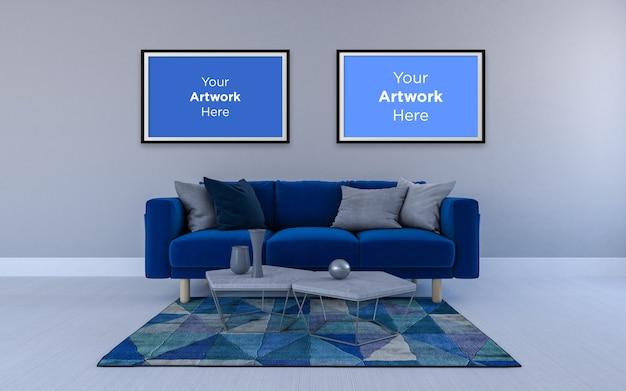 青いソファモックアップデザインの空のフォトフレーム