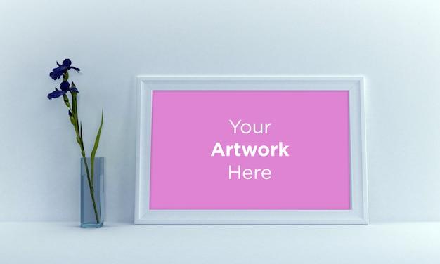 Пейзаж пустая рамка для фотографий дизайн макета с цветком в вазе