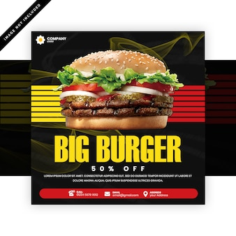 ハンバーガーレストランの正方形のバナーやチラシ