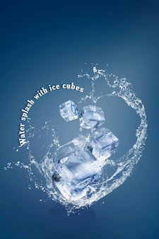 青色の背景とコピースペースで分離されたアイスキューブと水のしぶき