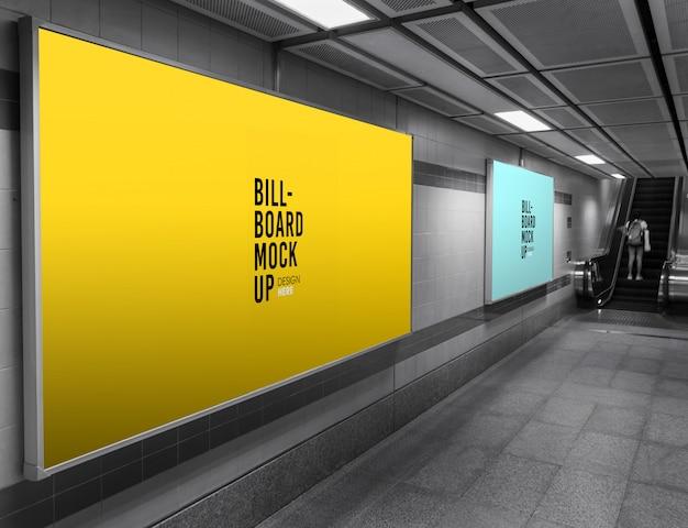 地下鉄または地下鉄駅のビルボードモックアップ