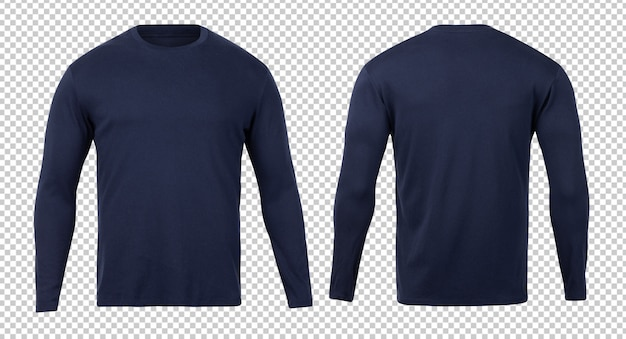 Темно-синий шаблон макета футболки с длинным рукавом спереди и сзади для вашего дизайна.