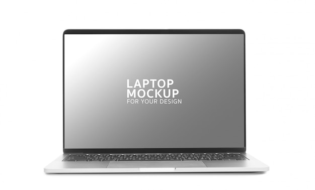 ノートパソコンのデジタル機器のモックアップデザイン。