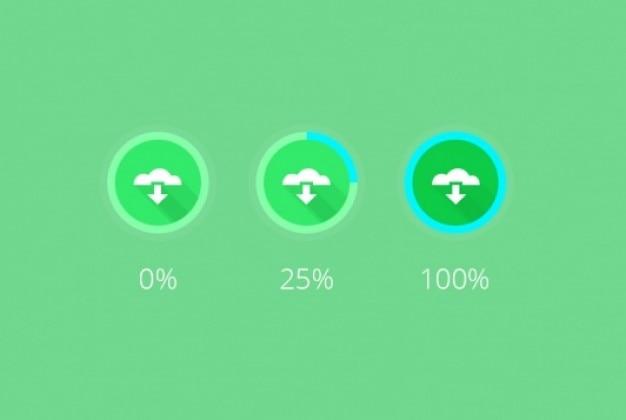 Зеленые иконки загрузки с прогрессом