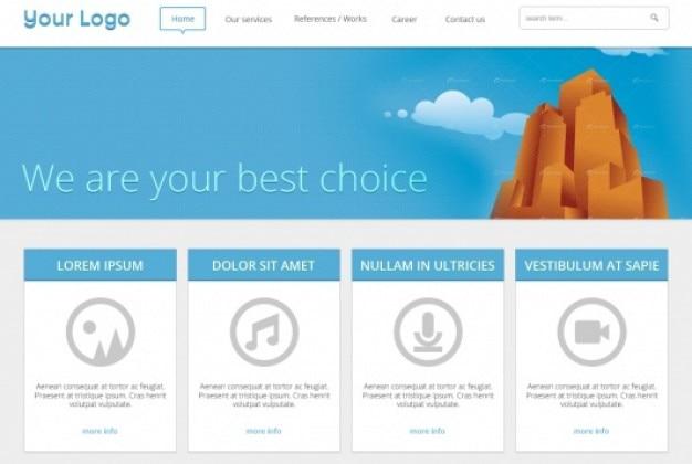 Синий шаблон веб-дизайна в плоском