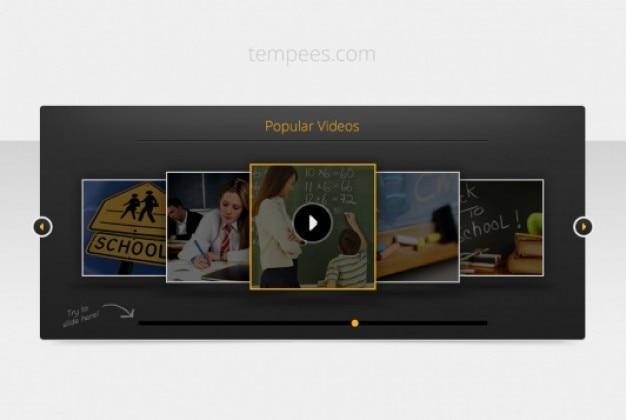 暗いテンプレートビデオスライダー