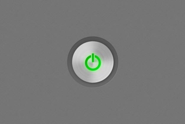 金属の質感と緑のシャットダウンアイコン