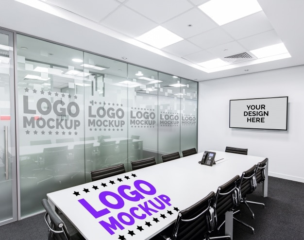 ロゴのオフィスモックアップ