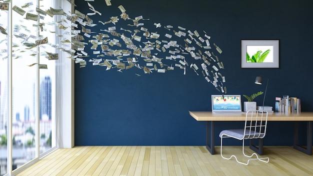 Макет рабочего пространства с ноутбуком и летающими долларовыми купюрами