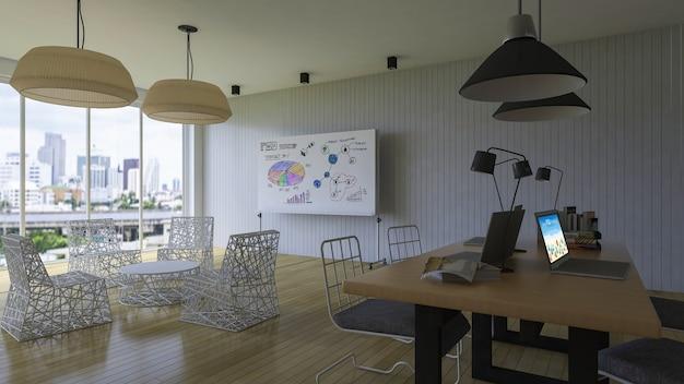 オフィスでのインテリアデザインモックアップ