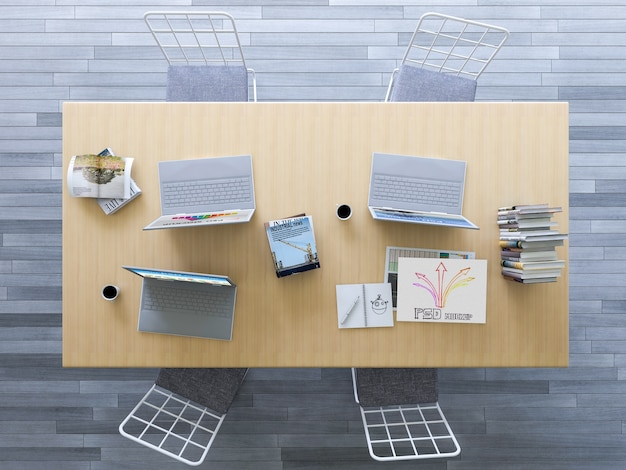 オフィスデスクの上から見たインテリアデザインモックアップ