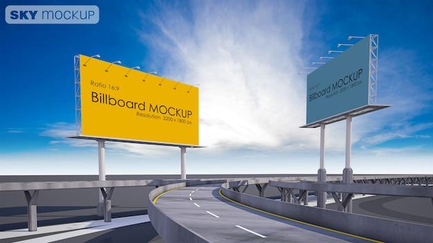 Макет изображения рекламного щита рядом с шоссе