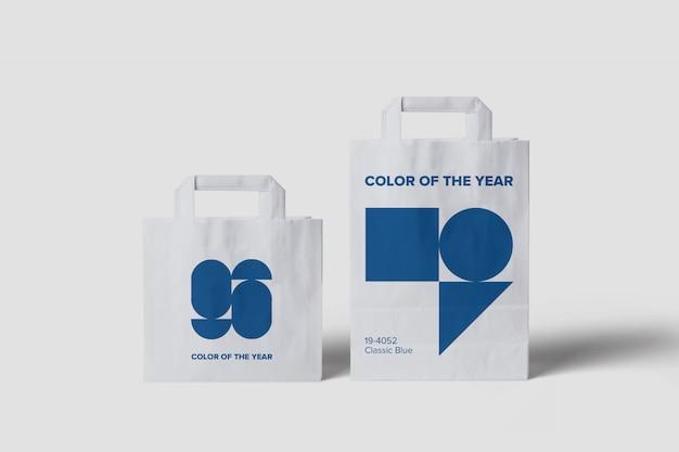 サイズの異なる買い物袋のモックアップ