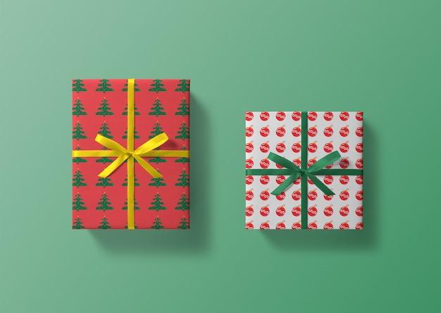 Рождественская подарочная коробка макеты